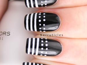 Dots stripes black white nails