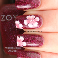 One stroke flowers Zoya Blaze nails