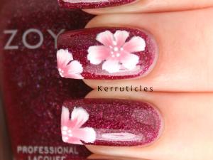 One stroke flowers Zoya Blaze nails