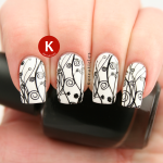 Black and white floral stamping