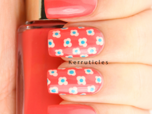 Coral turquoise white four petal flowers pattern nails