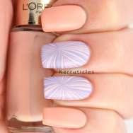 L'Oreal peach lilac pastel starburst water marble nails