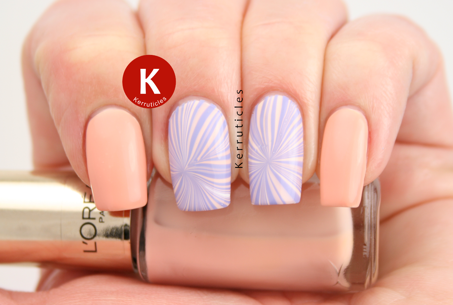 L'Oreal peach lilac pastel starburst water marble