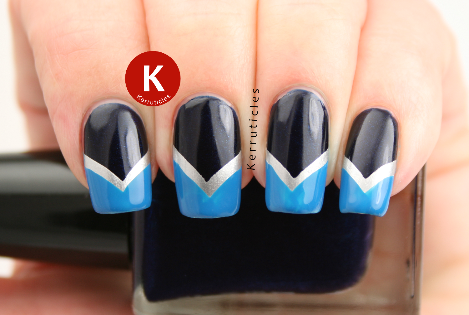 Navy, silver, blue fishtail