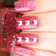 OPI Excuse Moi Barry M Pomegranate square silver studs nails