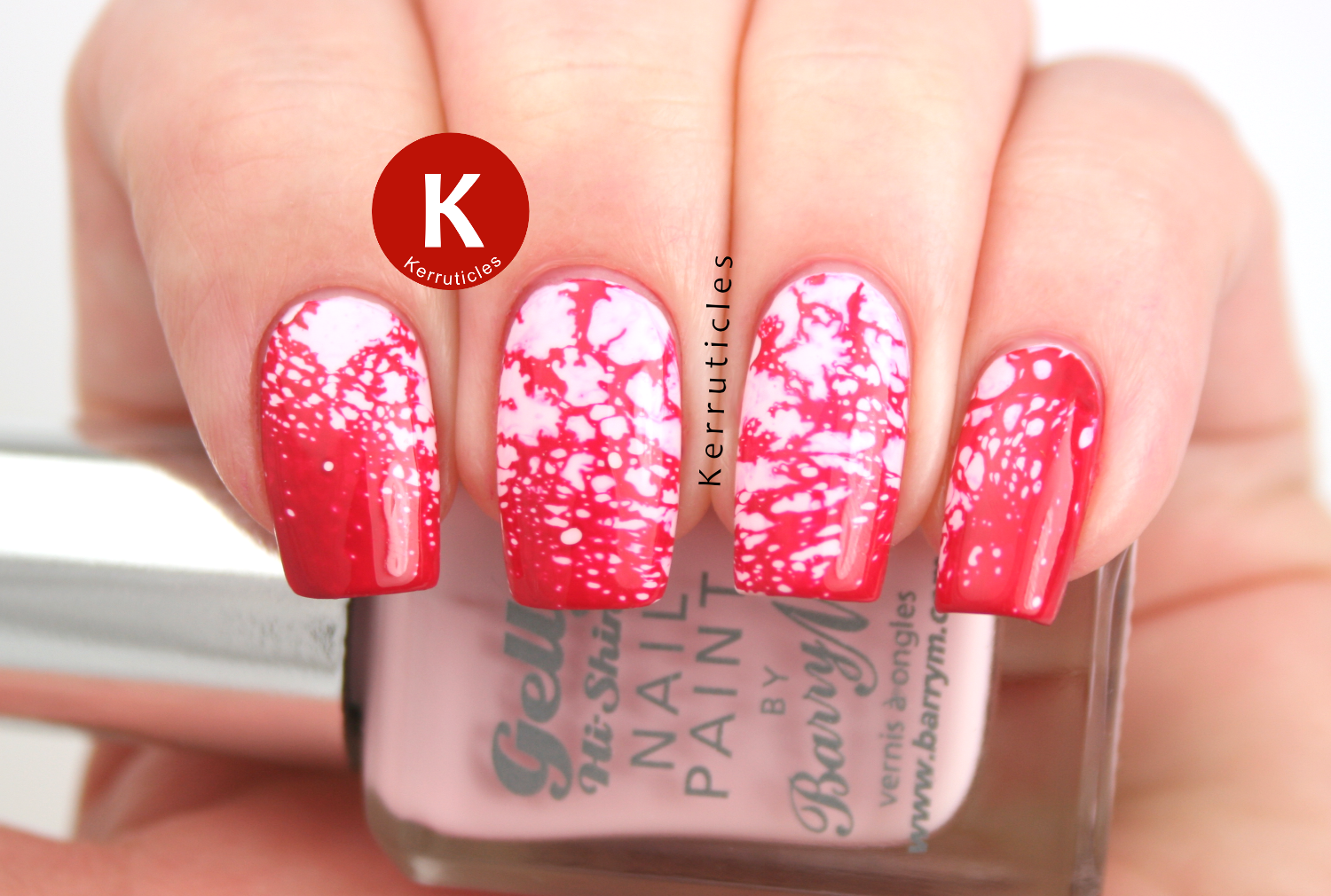 Pink water spotted nails using Barry M Rose Hip and Barry M Pomegranate
