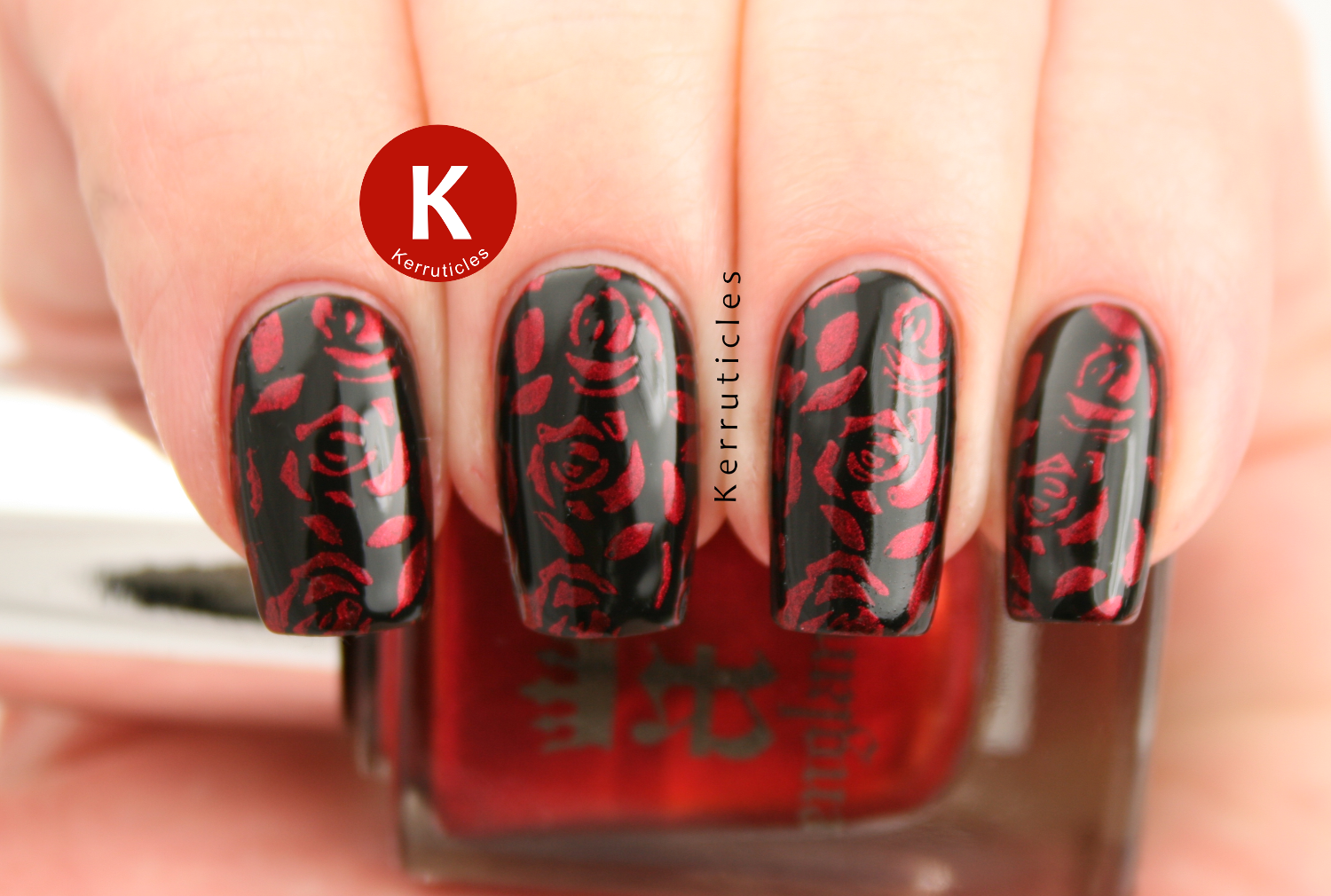Red roses stamped over W7 Black using A England Perceval and MoYouLondon Pro 10 XL