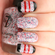 W7 Lava Flow red black stripes nails