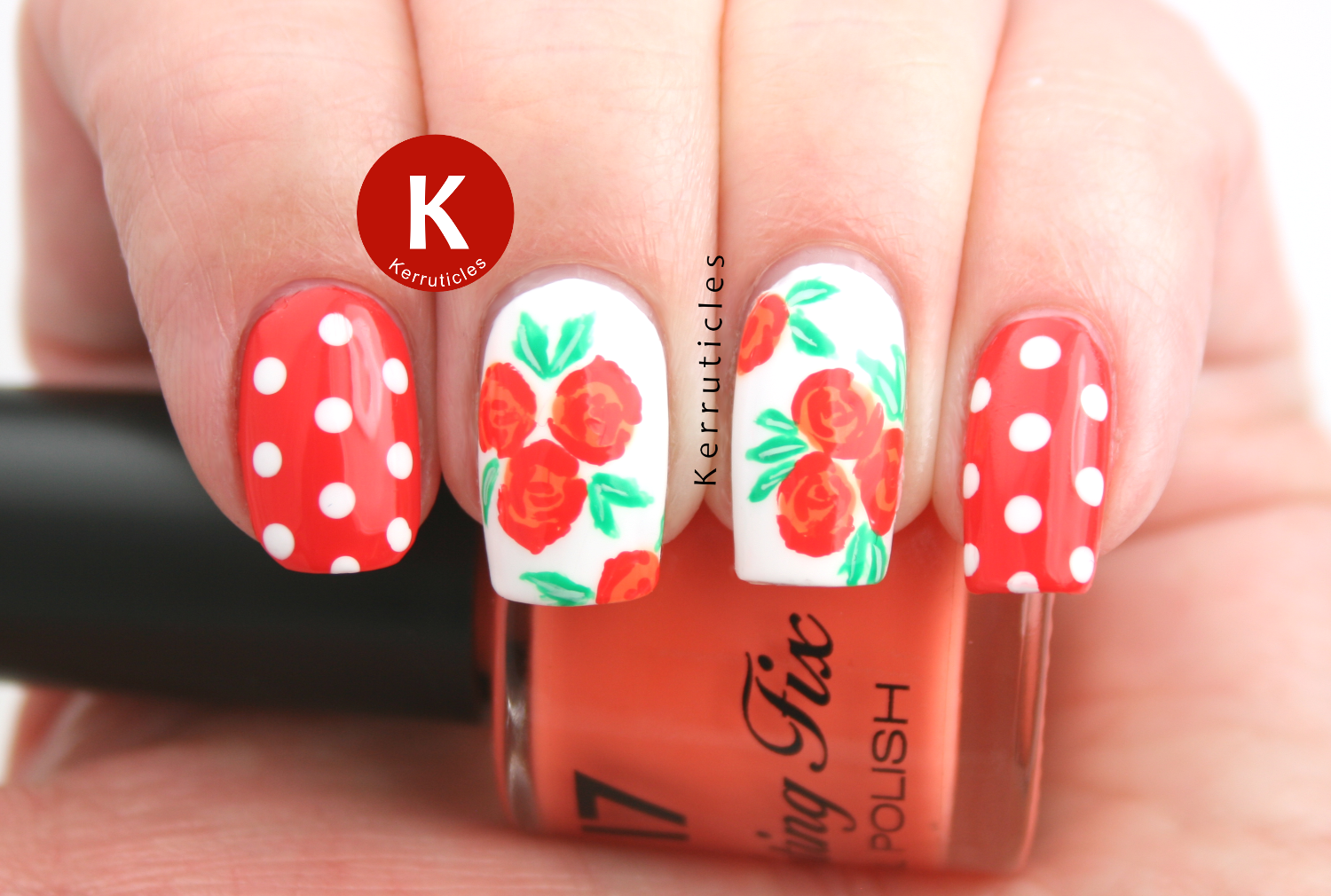 Orange roses and polka dots, using Rimmel Sun Downer, 17 Orange Soda