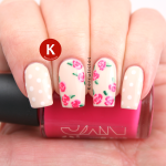 Pink roses on cream with polka dots