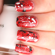 Red black white splatter: Rimmel Double Decker Red, W7 Black, Sinful Colors Snow me White