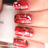 Red black white splatter: Rimmel Double Decker Red, W7 Black, Sinful Colors Snow me White