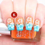 Tropical gradient Hawaiian hibiscus flower stamping