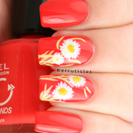 Freehand daisies on orange-red nails