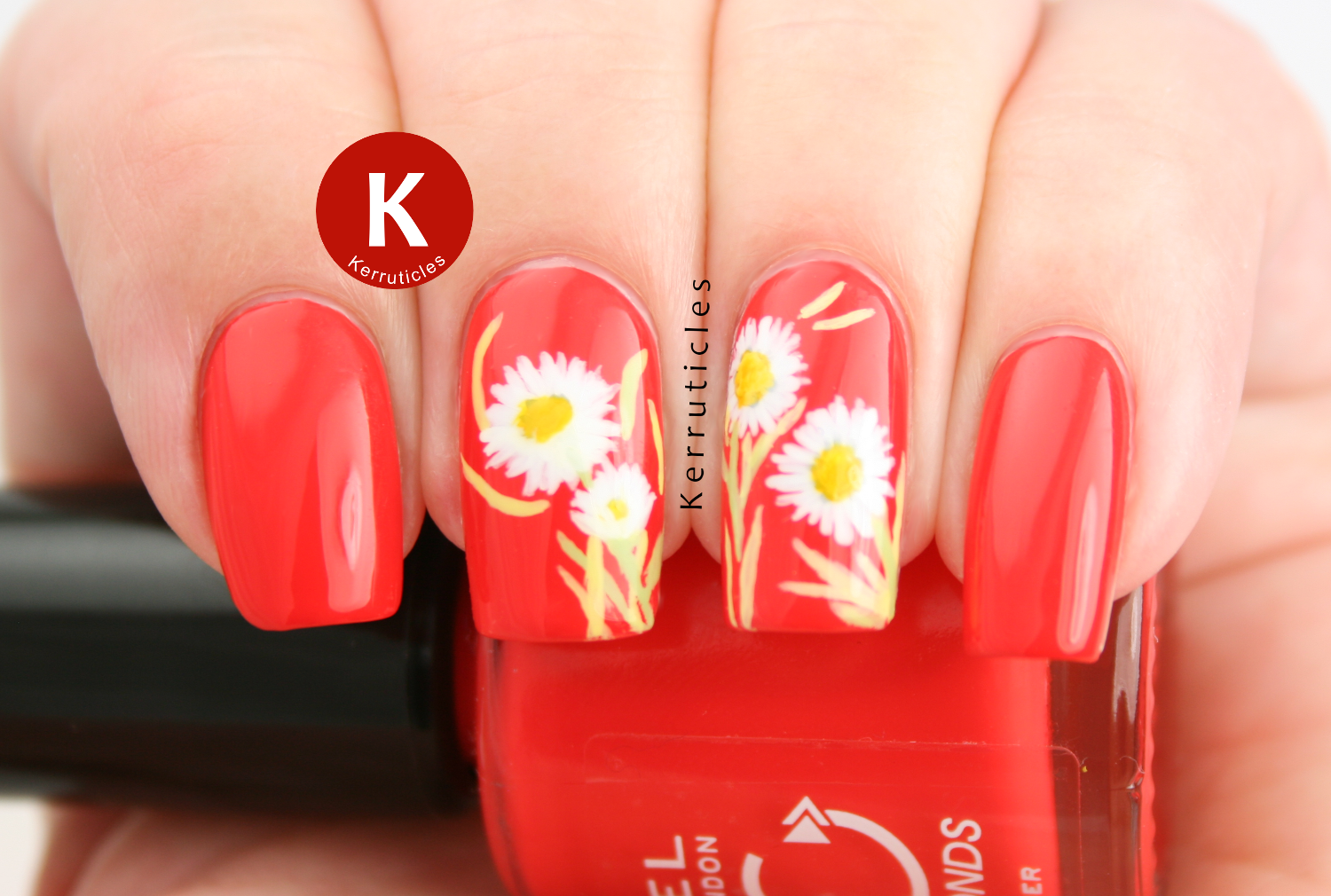 Freehand daisies over orange-red, using acrylic paints and Rimmel Sun Downer