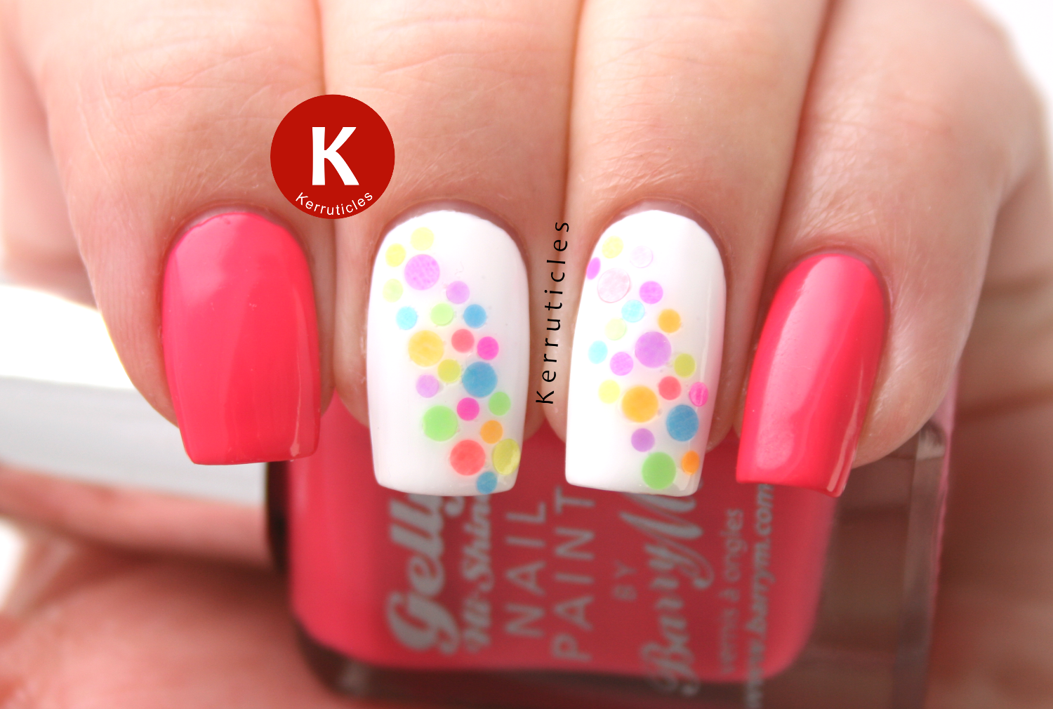Multi-coloured neon dots glitter placement with Barry M Grapefruit