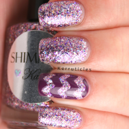 Shimmer Karen, with purple zigzags using Sally Hansen Anenome Of Mine