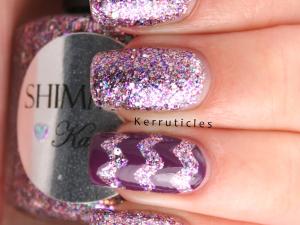 Shimmer Karen, with purple zigzags using Sally Hansen Anenome Of Mine