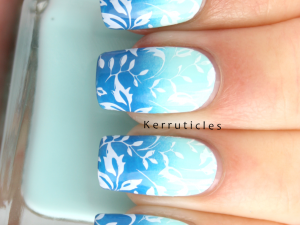 Blue gradient with stamping using Barry M Sugar Apple, Rimmel Blue Eyed Girl and CICI & SISI 03