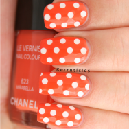 Chanel Mirabella with white polka dots round glitters nails