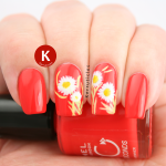 Freehand daisies on orange-red