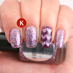 Shimmer Karen with purple zigzags