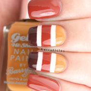 Autumnal stripes with Barry M Autumn 2014 Gellys nails