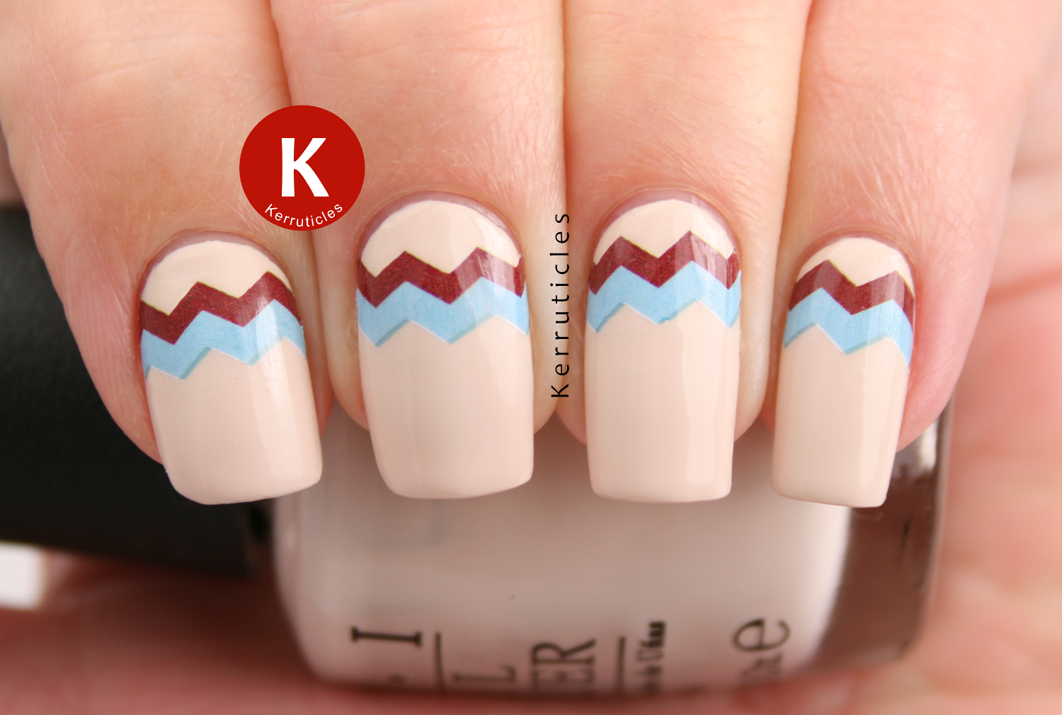 Born Pretty Store brown and blue zig zag decals