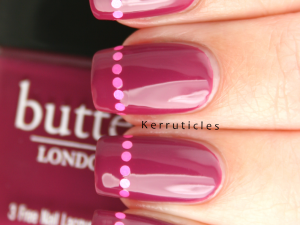Butter London Queen Vic pink round glitter placement tips nails