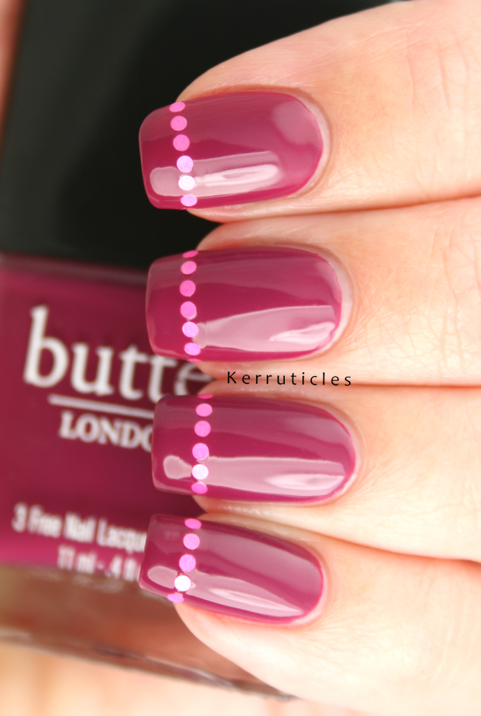 Q is for: Queen Vic by Butter London, with round pink glitters | Kerruticles