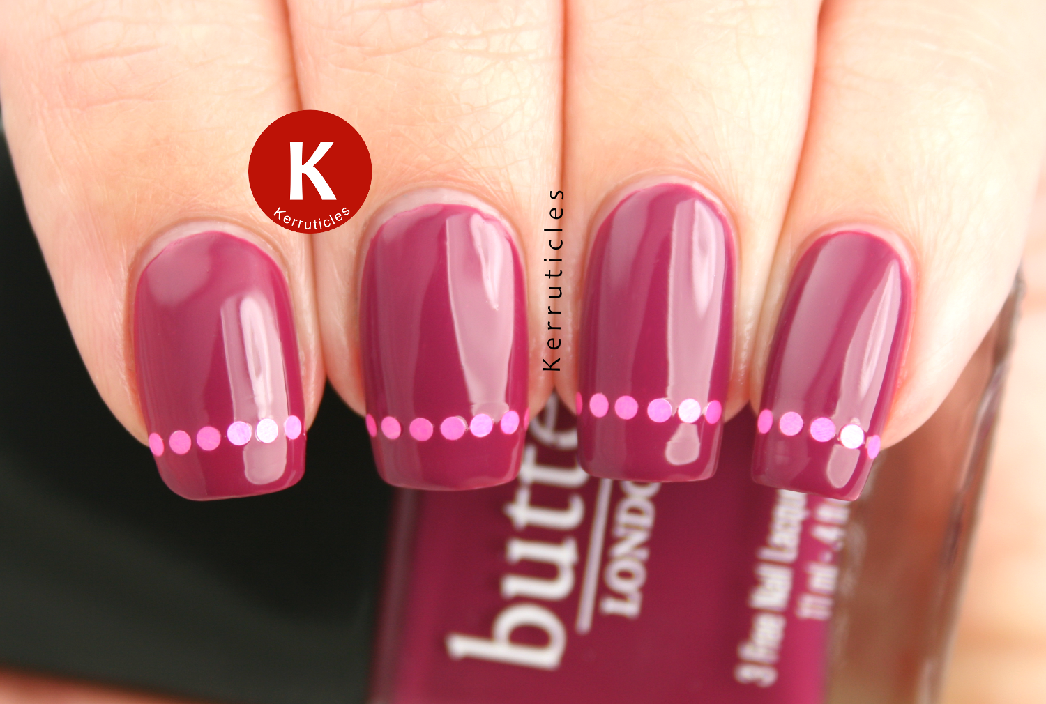 Butter London Queen Vic with pink round glitter placement tips