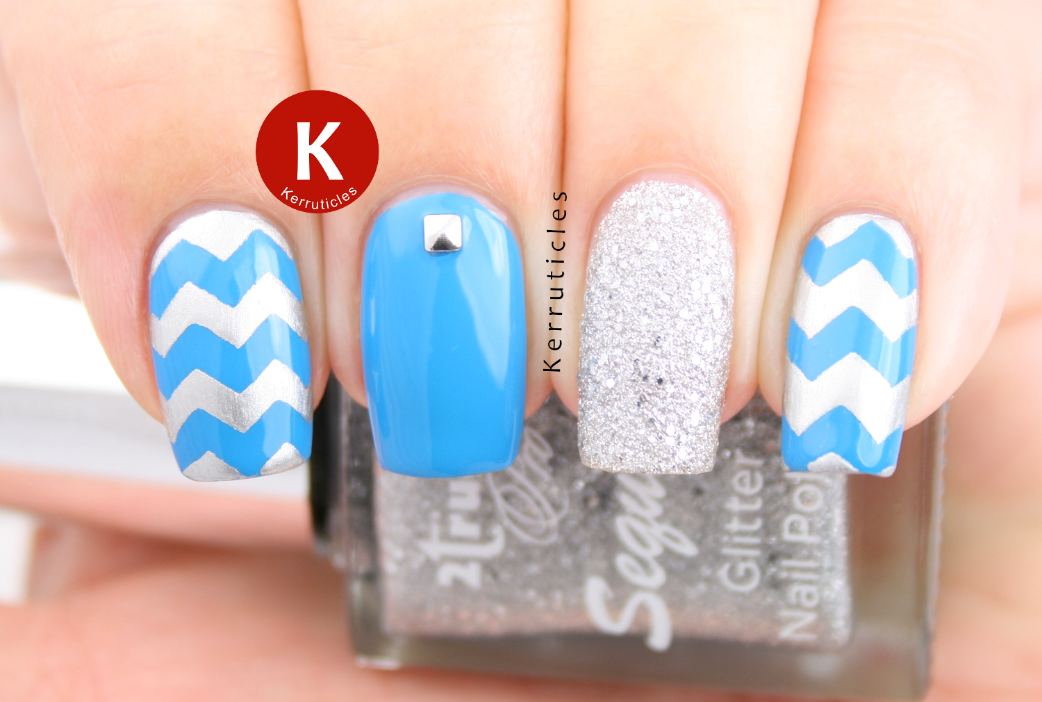 Cyan blue and silver skittlette with zigzags and studs
