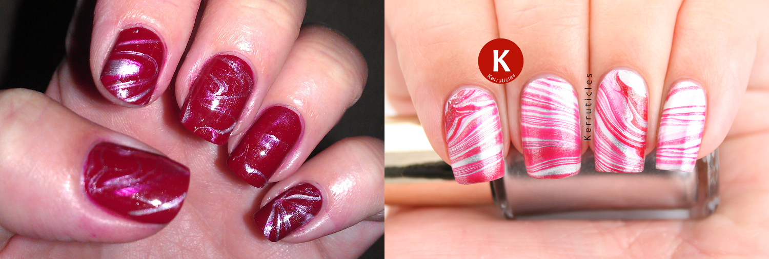 Recreated red and silver water marble nails