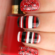 Red black and white stripes glitter nails