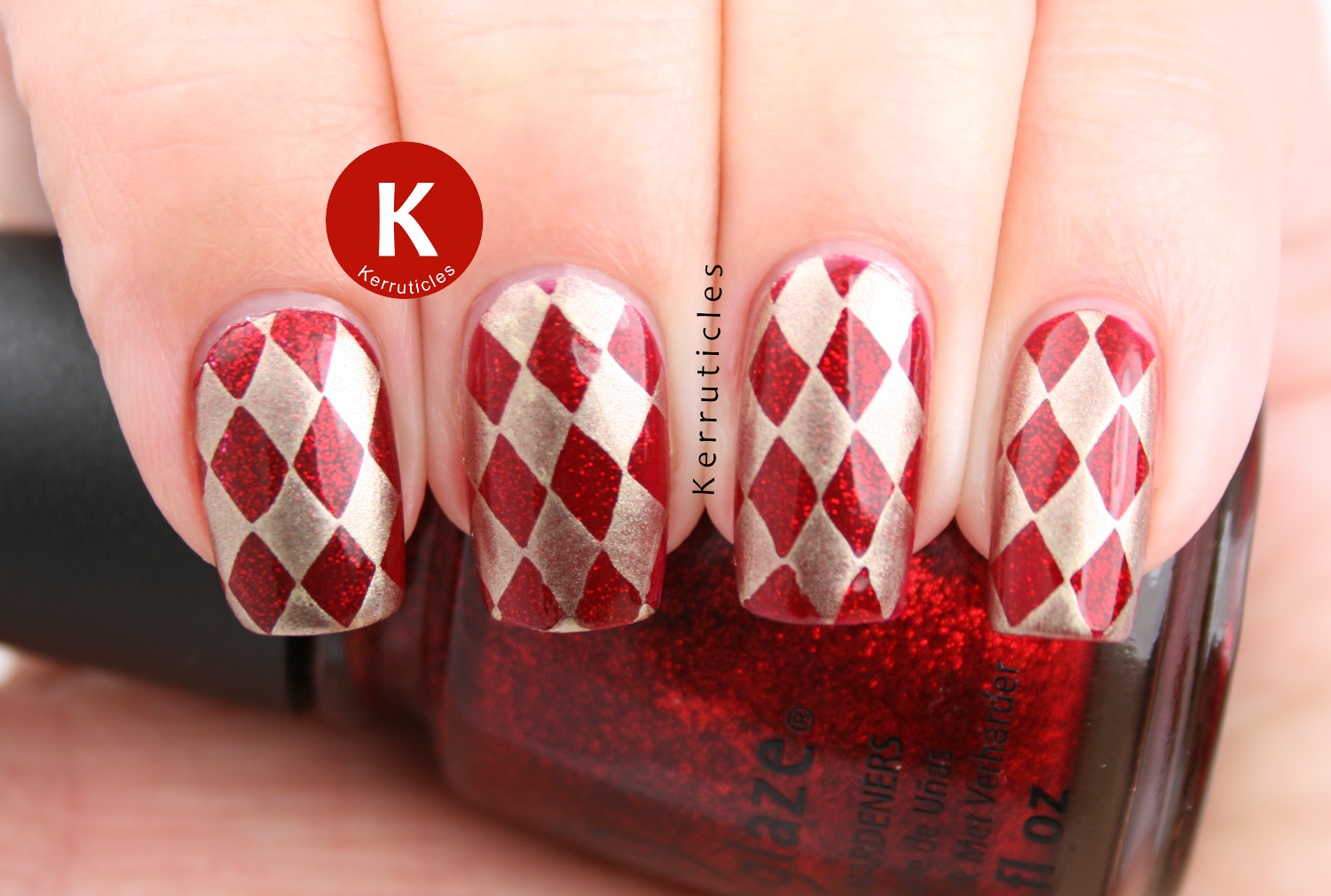 Red And Gold Harlequin Nails R Is For Ruby Pumps