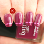 Plum with round glitter placement tips