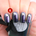 Purple and green duochrome with star studs