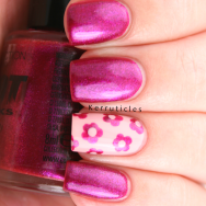 Collection 2000 Vixen pink shimmer flowers accent nails