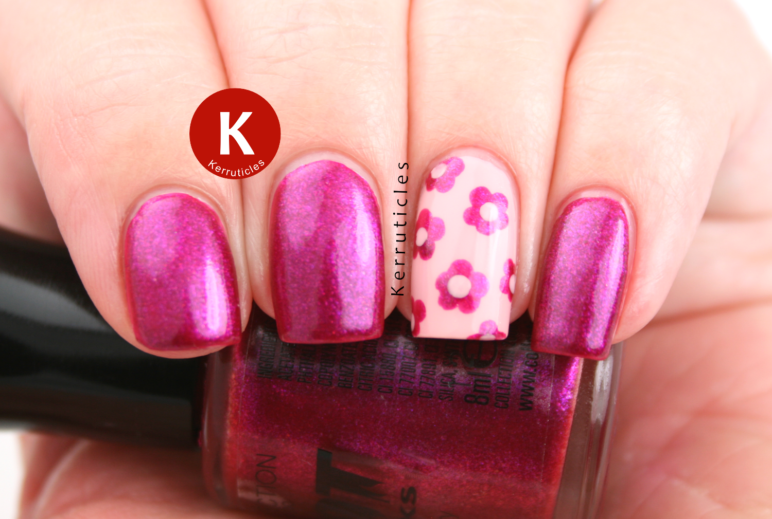Collection 2000 Vixen pink shimmer flowers accent