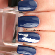 Lightning on navy for Migraine Awareness nails