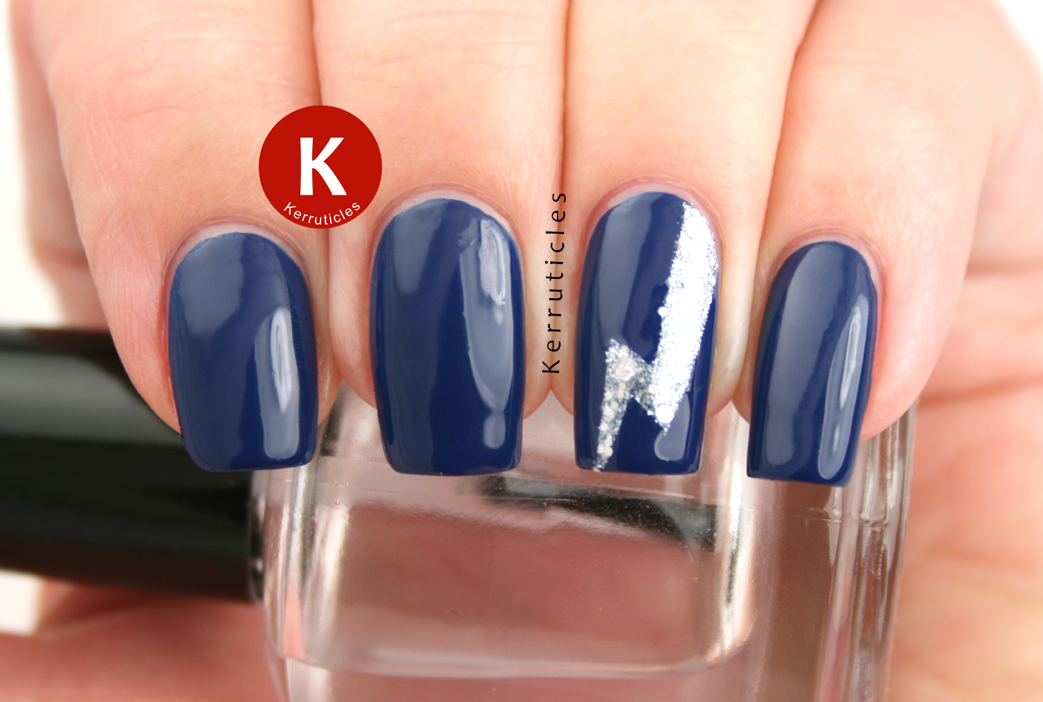 Navy and silver lightning nails for Migraine Awareness Week
