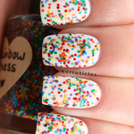 Rainbow Chess multi-coloured square glitter nails