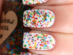 Rainbow Chess multi-coloured square glitter nails