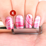 Red and silver water marble