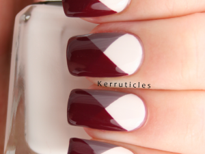 Geometric chevron angles using Barry M Coconut, Cappucino and Raspberry