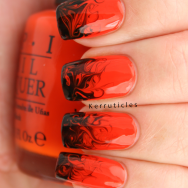 Halloween orange and black needle drag dry marble nails