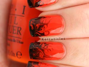 Halloween orange and black needle drag dry marble nails