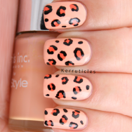 Peach leopard print using Nails Inc You're A Peach, Nails Inc Porchester Place and W7 Black