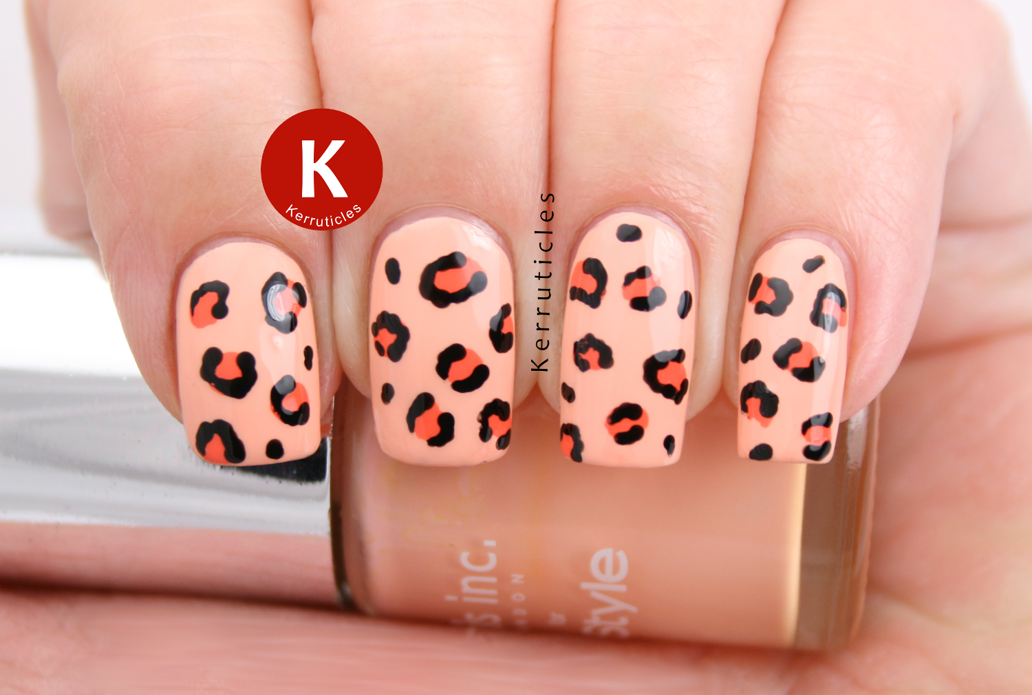 Peach leopard print Nails Inc You're A Peach