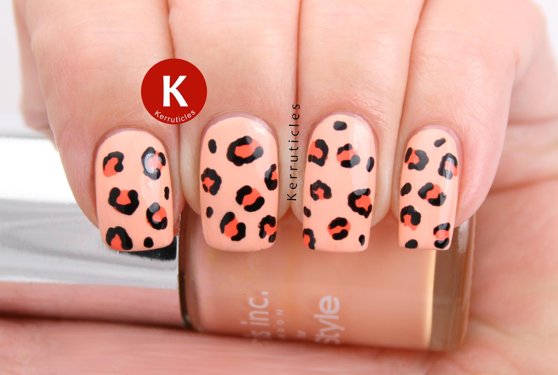 Peach leopard print Nails Inc You're A Peach